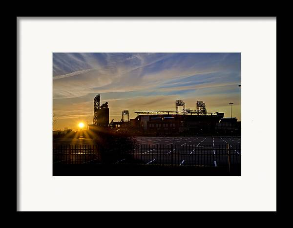 Phillies Framed Print featuring the photograph Phillies Citizens Bank Park At Dawn by Bill Cannon