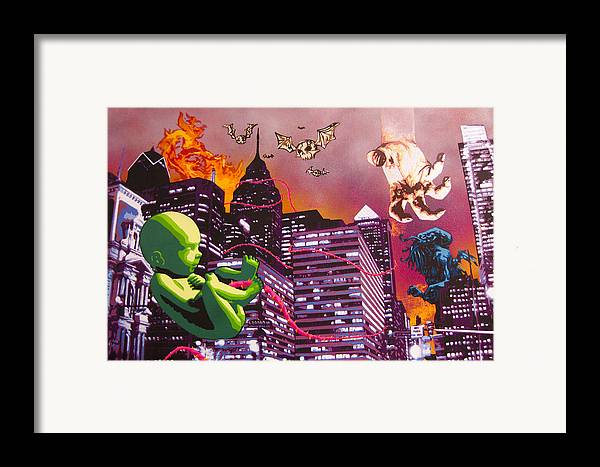 Philly Framed Print featuring the painting Philly Rapture by Bobby Zeik