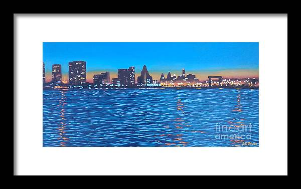 Philly Framed Print featuring the painting Philly Skyline by Elisabeth Olver
