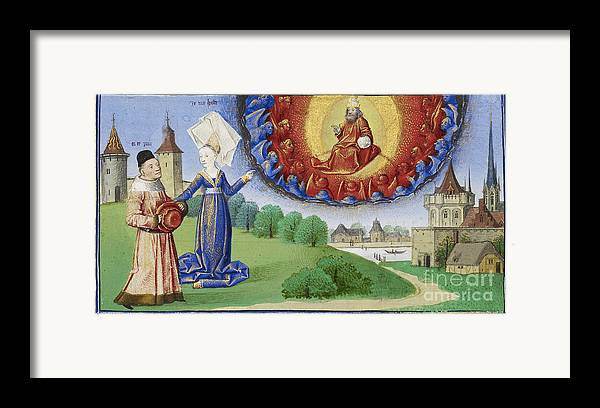 Boethius Framed Print featuring the photograph Philosophy Instructs Boethius On God by Getty Research Institute