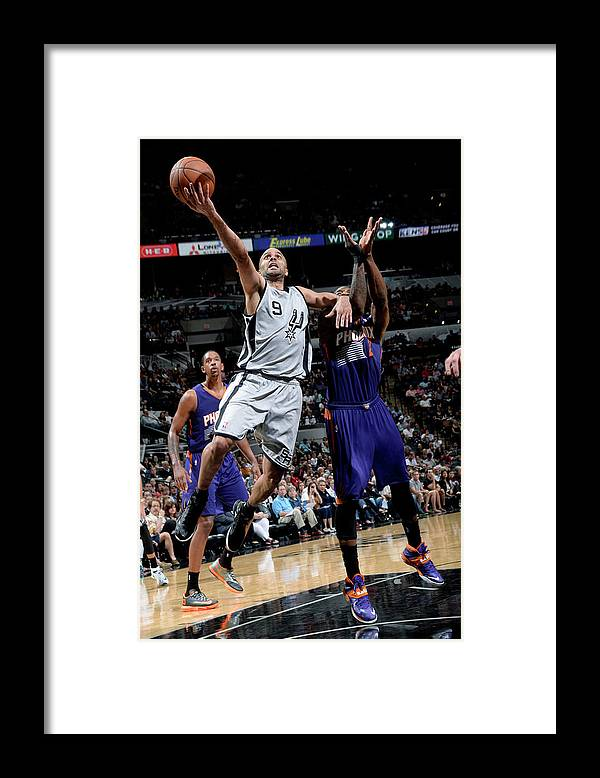 Nba Pro Basketball Framed Print featuring the photograph Phoenix Suns V San Antonio Spurs by D. Clarke Evans