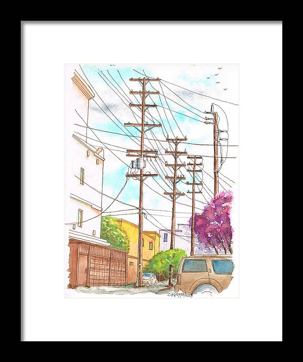 Nature Framed Print featuring the painting Phone Poles In An Alley - Westwood - California by Carlos G Groppa