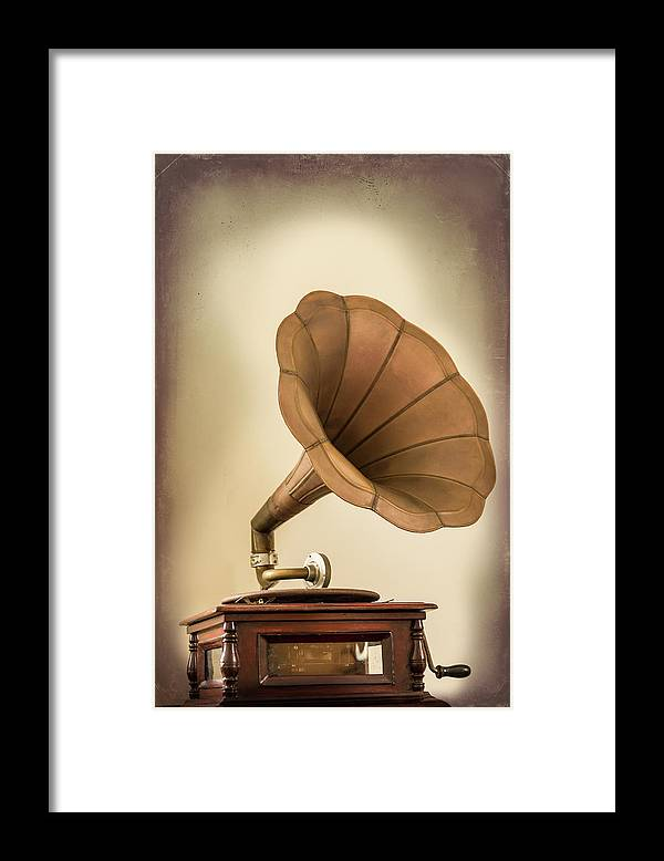 Music Framed Print featuring the photograph Phonograph Record Player by Gary S Chapman