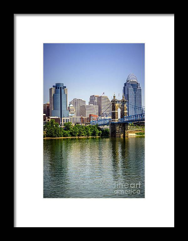 2012 Framed Print featuring the photograph Photo Of Cincinnati Skyline And Roebling Bridge by Paul Velgos
