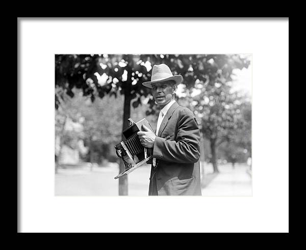 1918 Framed Print featuring the photograph Photographer And Camera by Granger
