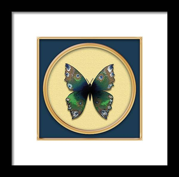 Butterfly Framed Print featuring the painting Phthalo Butterfly by Deborah Runham