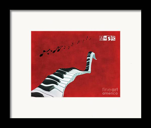 Piano Framed Print featuring the digital art Piano Fun - S01at01 by Variance Collections
