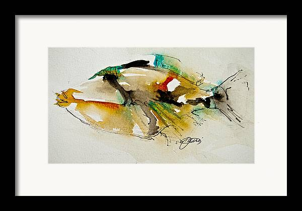 Fish Framed Print featuring the painting Picasso Trigger by Jani Freimann
