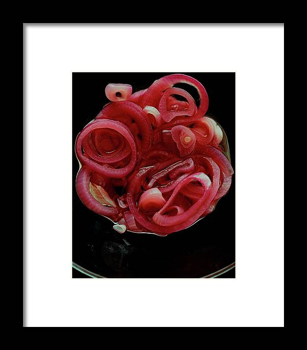 Onion Framed Print featuring the photograph Pickled Red Onions by Romulo Yanes
