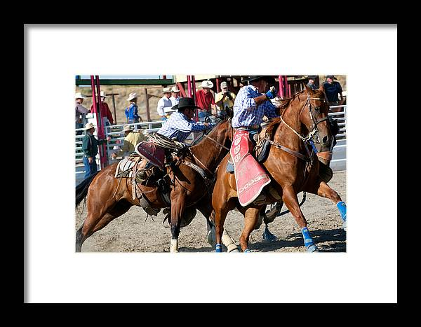 Rodeo Framed Print featuring the photograph Pickup Men At Work by Vinnie Oakes
