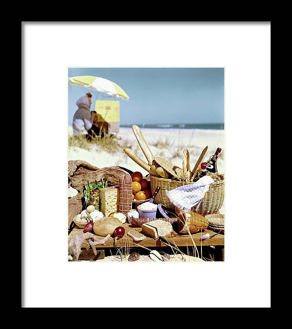 Still Life Framed Print featuring the photograph Picnic Display On The Beach by Stan Young