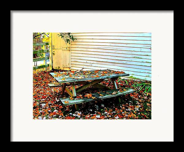 Autumn Framed Print featuring the photograph Picnic Table In Autumn by Julie Dant
