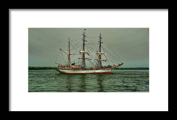 Tall Ship Framed Print featuring the photograph Picton Castle At Dusk by Tony Ambrosio