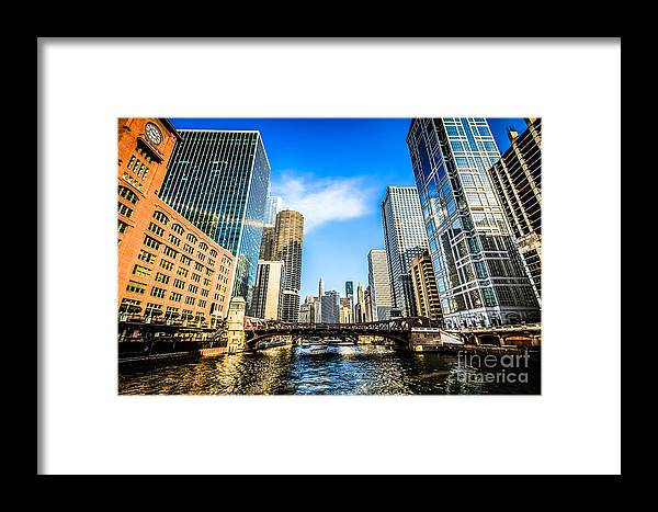 America Framed Print featuring the photograph Picture Of Chicago River Skyline At Clark Street Bridge by Paul Velgos