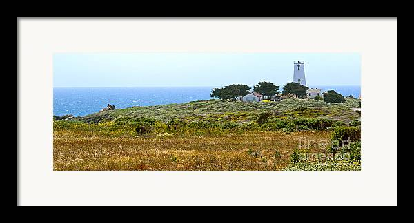 Piedras Blancas Lighthouse Framed Print featuring the photograph Piedras Blancas Lighthouse Near San Simeon And Cambria Along Hwy 1 In California by Artist and Photographer Laura Wrede