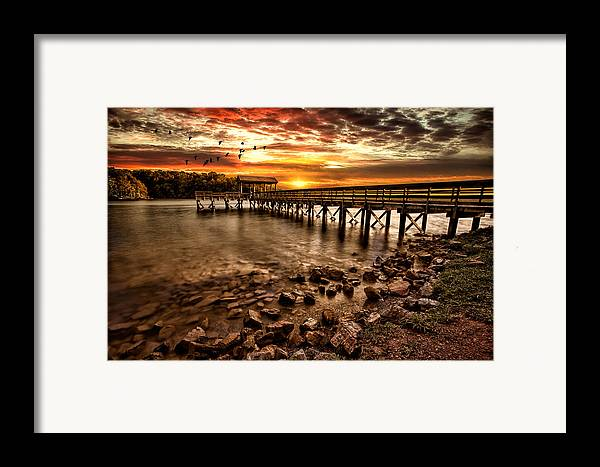 Pier Framed Print featuring the photograph Pier At Smith Mountain Lake by Joshua Minso