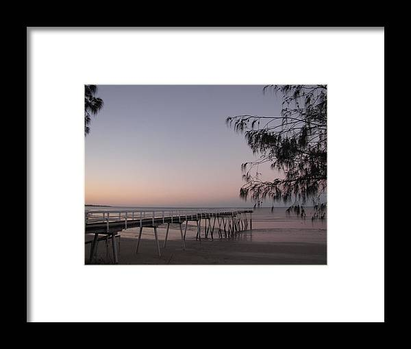 Pier Framed Print featuring the photograph Pier At Sunset by Elizabeth Hardie