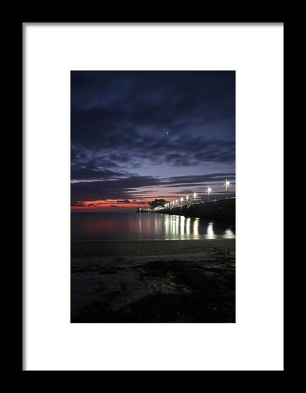 Pier Framed Print featuring the photograph Pier Moon And Sun by Chris Davis