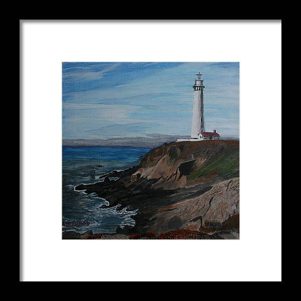 Ocean Framed Print featuring the painting Pigeon Lighthouse Daytime Titrad by Ian Donley