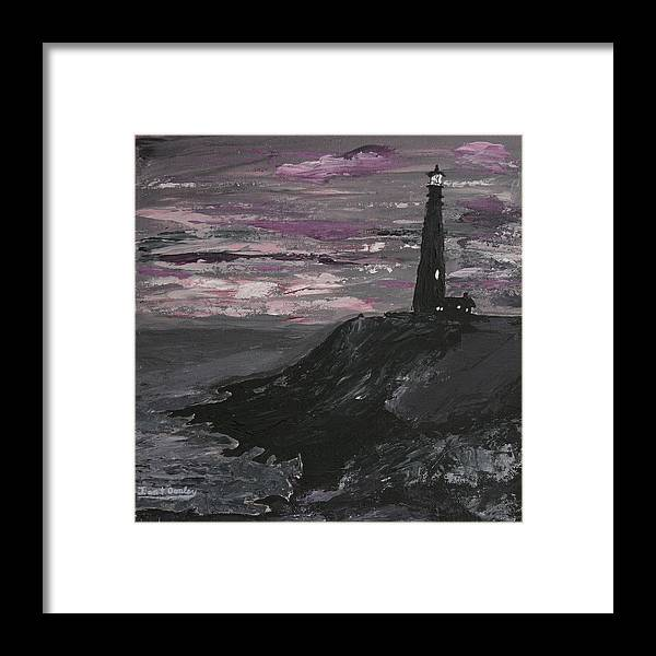 Ocean Framed Print featuring the painting Pigeon Lighthouse Impasto Sunset Monochromatic by Ian Donley