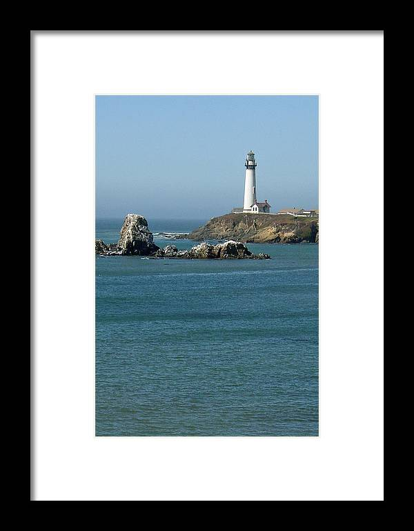 Lighthouse Framed Print featuring the photograph Pigeon Point Lighthouse Near Half Moon Bay-san Francisco by Suzanne Gaff