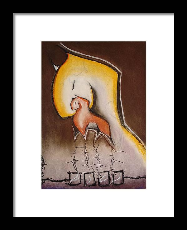 Charcoal Framed Print featuring the painting Pillars by Dianaya Anaya