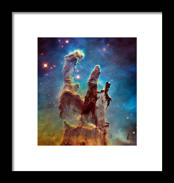 Pillars Of Creation Framed Print featuring the photograph Pillars Of Creation In High Definition - Eagle Nebula by Jennifer Rondinelli Reilly - Fine Art Photography