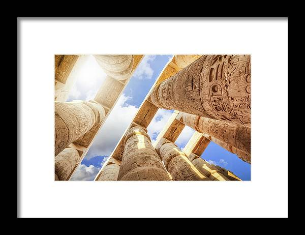 Ancient History Framed Print featuring the photograph Pillars Of The Great Hypostyle Hall by Cinoby