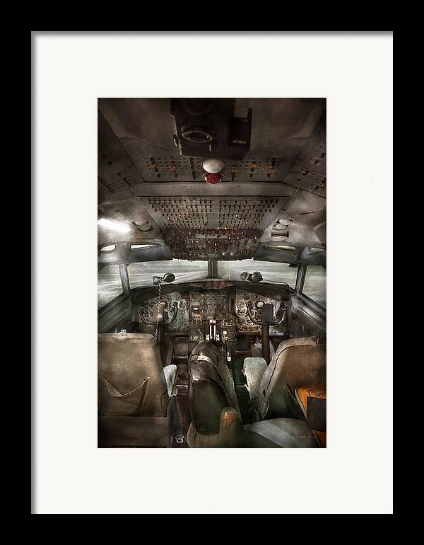 Pilot Framed Print featuring the photograph Pilot - Boeing 707 - Cockpit - We Need A Pilot Or Two by Mike Savad