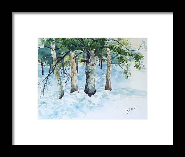 Watercolor Framed Print featuring the painting Pine trees and snow by Joy Nichols