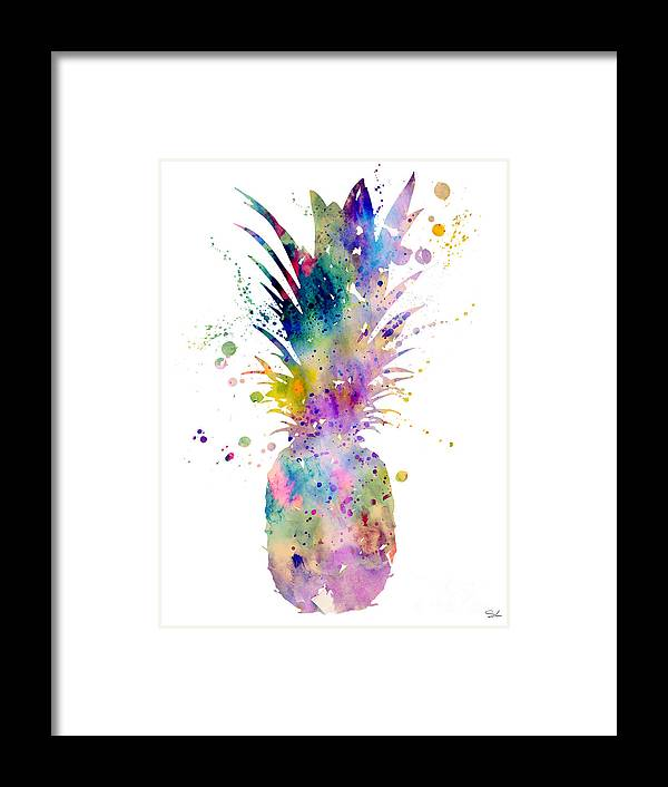 Pineapple Watercolor Print Framed Print featuring the painting Pineapple by Watercolor Girl