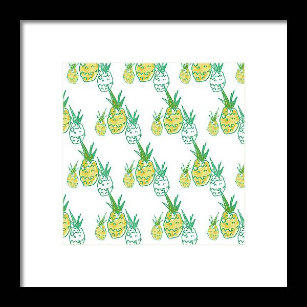 Illustration Framed Print featuring the painting Pineapple by Pamela J. Wingard