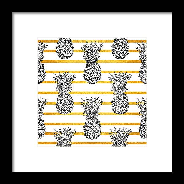Palm Framed Print featuring the digital art Pineapple Tropical Vector Seamless by Vavavka