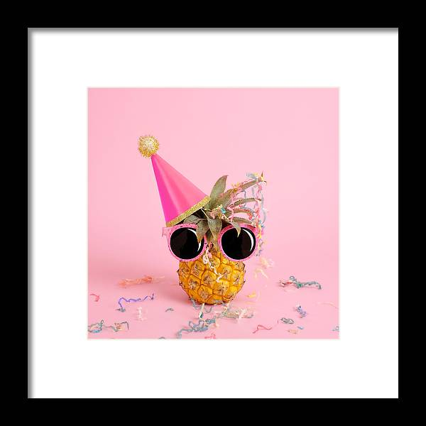 Celebration Framed Print featuring the photograph Pineapple Wearing A Party Hat And by Juj Winn