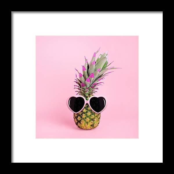 Food Framed Print featuring the photograph Pineapple Wearing Sunglasses by Juj Winn