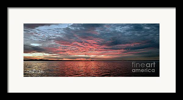 Sunrise Framed Print featuring the photograph Pink And Grey At Sea - Sunrise Panorama by Geoff Childs