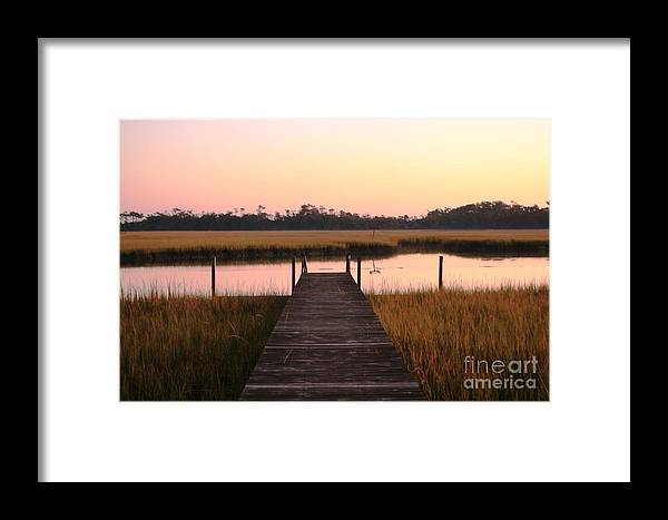 Pink Framed Print featuring the photograph Pink And Orange Morning On The Marsh by Nadine Rippelmeyer