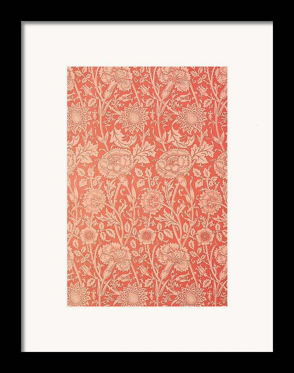 Pattern Framed Print featuring the tapestry - textile Pink And Rose Wallpaper Design by William Morris
