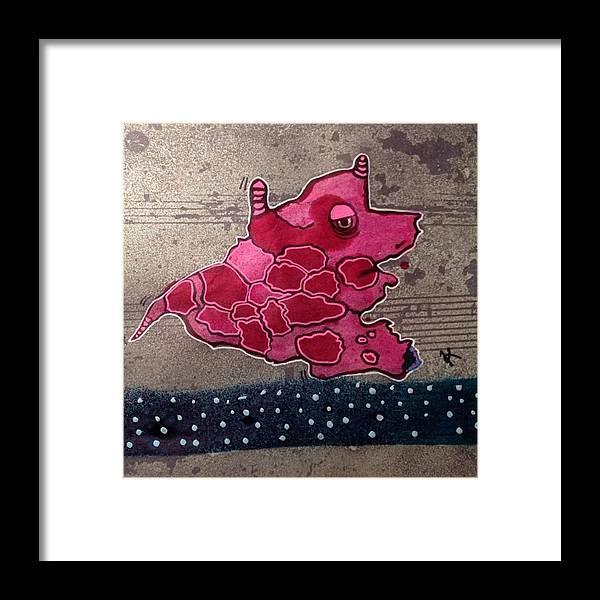 Framed Print featuring the digital art Pink Beastie by Kathleen Mosher