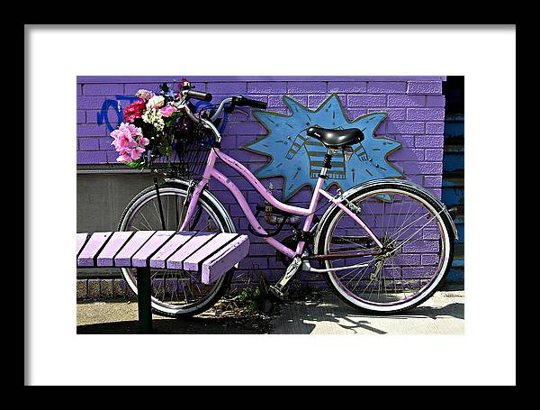Pink Bicycle Framed Print featuring the photograph Pink Bicycle by John Jacquemain