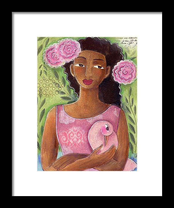 African American Framed Print featuring the painting Pink Bird by Elaine Jackson