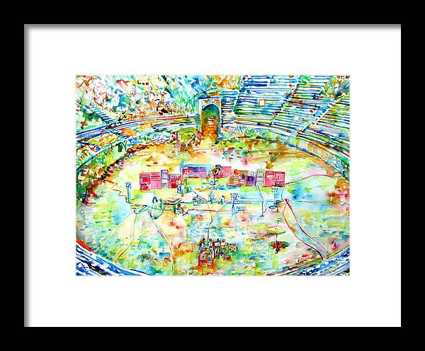 Pink Floyd Live At Pompeii Watercolor Painting Framed Print