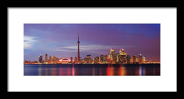 Toronto Framed Print featuring the photograph Pink Hour On Toronto Skyline Panorama by David Giral