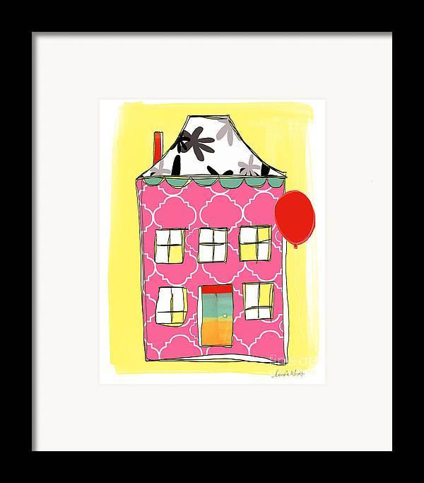 House Framed Print featuring the painting Pink House by Linda Woods