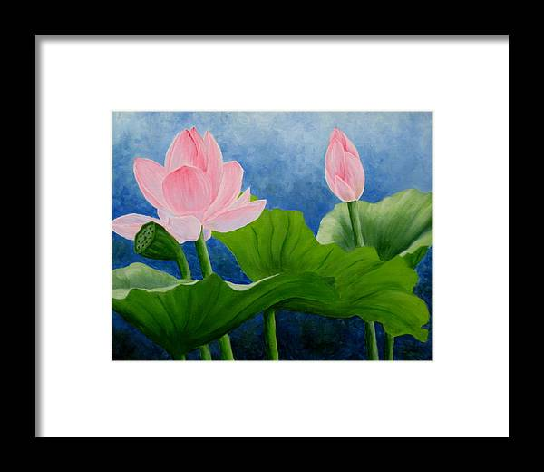 Oil Framed Print featuring the painting Pink Lotus On Blue Sky by Darla Brock