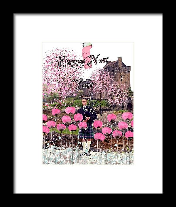 Eilean Donan Castle Framed Print featuring the photograph Pink New Year Greeting by Joan-Violet Stretch