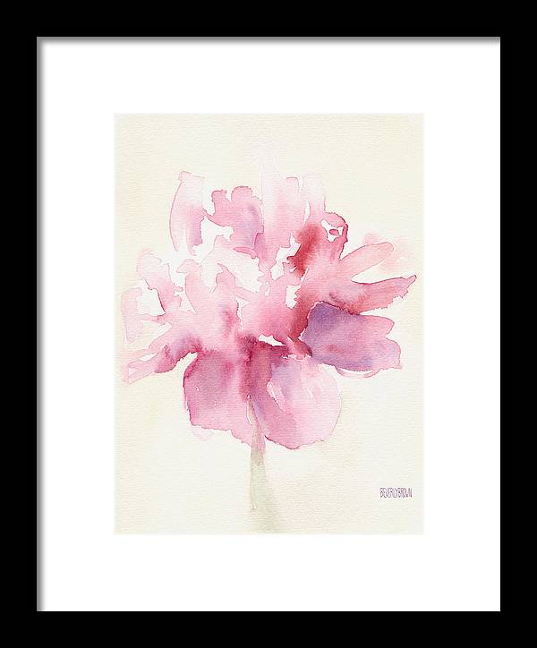 Floral Framed Print featuring the painting Pink Peony Watercolor Paintings Of Flowers by Beverly Brown