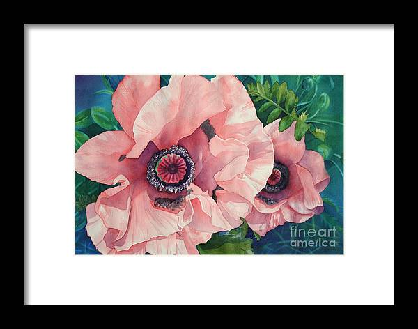 Floral Framed Print featuring the painting Pink Poppies by Amanda Schuster