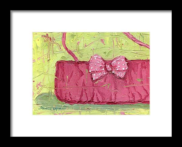 Pink Purse Party Framed Print featuring the painting Pink Purse Party by Shalece Elynne