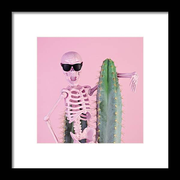 Cool Attitude Framed Print featuring the photograph Pink Skeleton With Cactus by Juj Winn